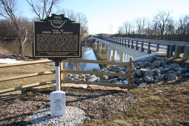 3-20 View of marker at Maumee River crossing.
