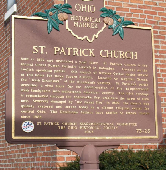 73-25 St. Patrick Historical Marker Side 1