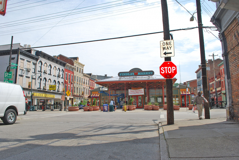 32-31 WEST SIDE OF FINDLAY MARKET. THERE ARE ALSO MARKERS ON THE EAST AND SOUTH SIDES OF THE MARKET.