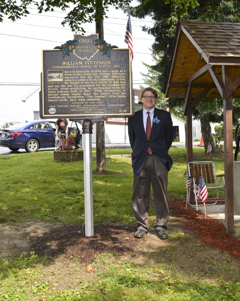 12-41 Ohio Historical Marker coordinator Andy Verhoff with the very first marker ever to be cosponsored by the OHIO HISTORY CONNECTION.  Photo courtesy Anissa Wellington