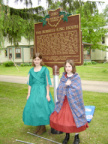 9-47 The Burrell - King House  marker and the two young Living History enactors who unveiled the marker.