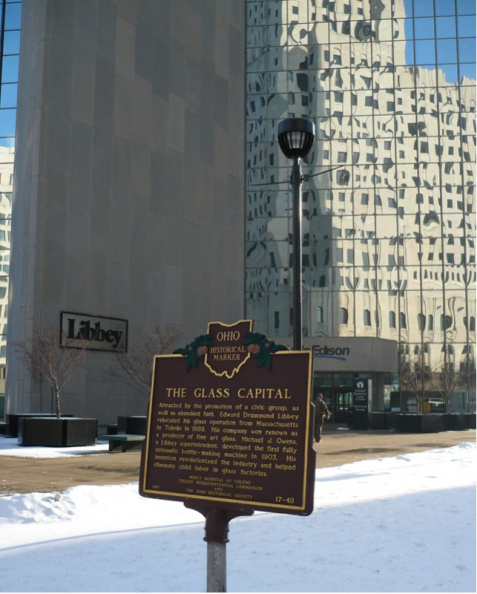 17-48 Glass Capital marker, Libbey building in background