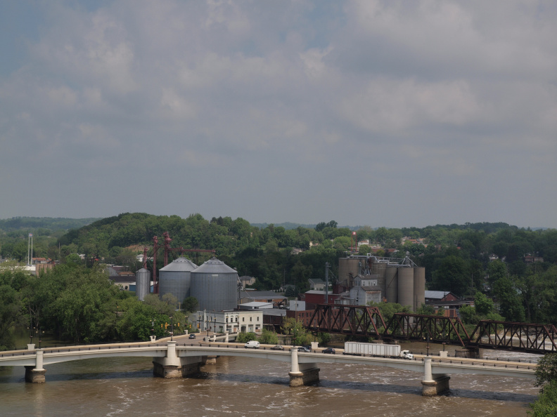3-60 View of the Y-bridge and the confluence of the Muskingum and Licking rivers