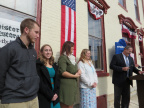 9-68 Mr. McKinney and Preble County History Class Marker Researchers at Dedication Ceremony