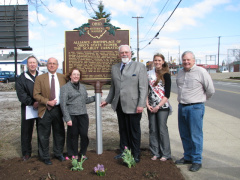 20-76 Carnation City marker dedication: John Whitehair, Harry Paidas, Karen Perone, Mayor Toni Middleton, Carnation Queen Christina Hagan, Don Shaffer