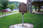 20-84 Muskingum River Underground Railroad Marker; Towboat W.P. Snyder Jr. in background