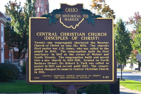 5-85 Central Christian Church - Marker Back