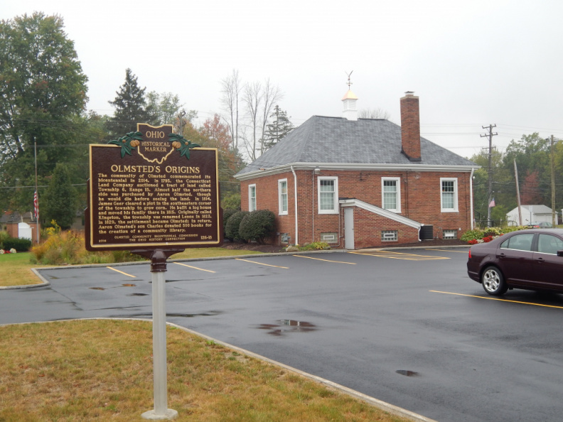 Marker 126-18 with Olmsted Township Hall in background