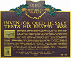Obed Hussey - Inventor of the Reaper - Ohio Historical Marker