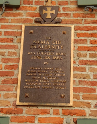 Plaque on the side of the Sigma Chi Founding building