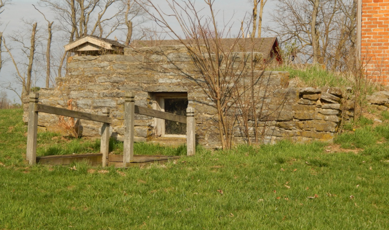 The root cellar that Joseph Morris is believed to have lived in while building his farmhouse..JPG