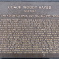 Plaque about Coach Hayes near his statue