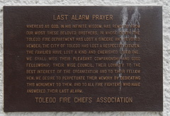 Last Alarm Prayer tablet on the Toledo Fire Department Memorial in DeWolfe Park