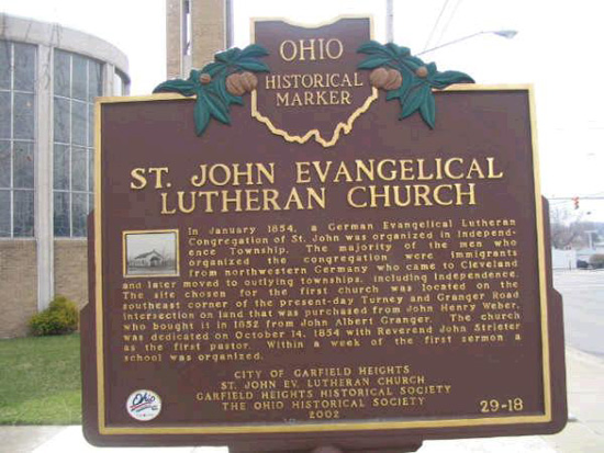 29-18 St. John Evangelical Lutheran Church. Marker as of April 2006
