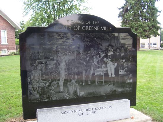 4-19 Treaty of Greene Ville Memorial at the corner of Elm and Main Streets in Greenville, Ohio
