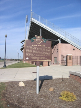 69-25 Owens Marker, located in front of Jesse Owens Memorial Stadium