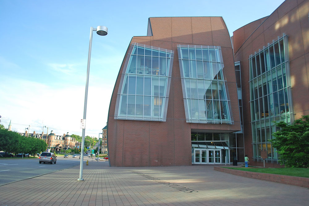 34-31 THE VONTZ CENTER IS A UNIQUE BUILDING WITH CURVER WALLS AND SKEWED WINDOWS.