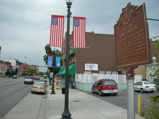 4-32 The Marker proudly displayed on Main Street in downtown Findlay